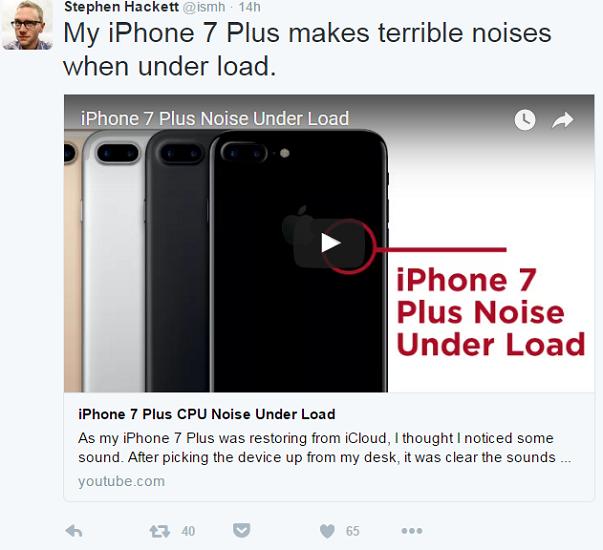 设计缺陷? iPhone 7 被曝高负载时内部会发出奇怪噪音