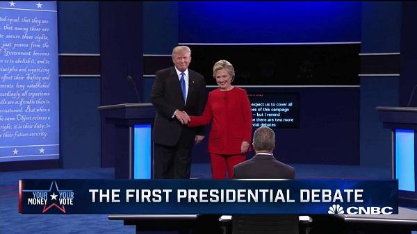 克林顿和特朗普对决首场电视辩论