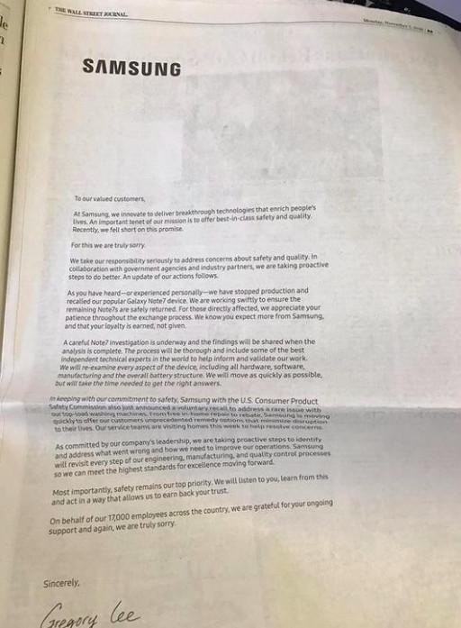 三星买下美国主流报纸版面为 Note7 爆炸道歉,但又引起了新的争议