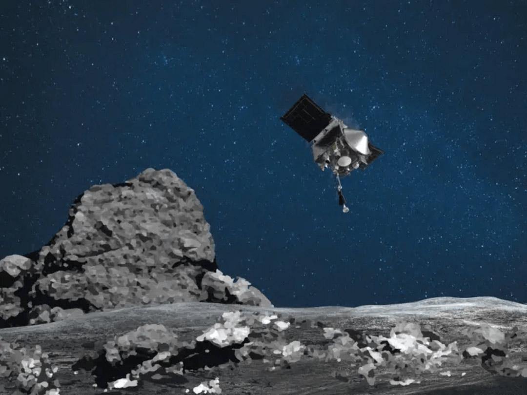 NASA探测器着陆小行星,10秒采集岩石样本
